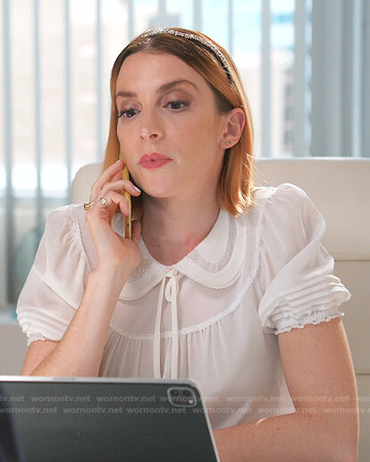 Lauren's white tie neck short sleeve blouse on Younger