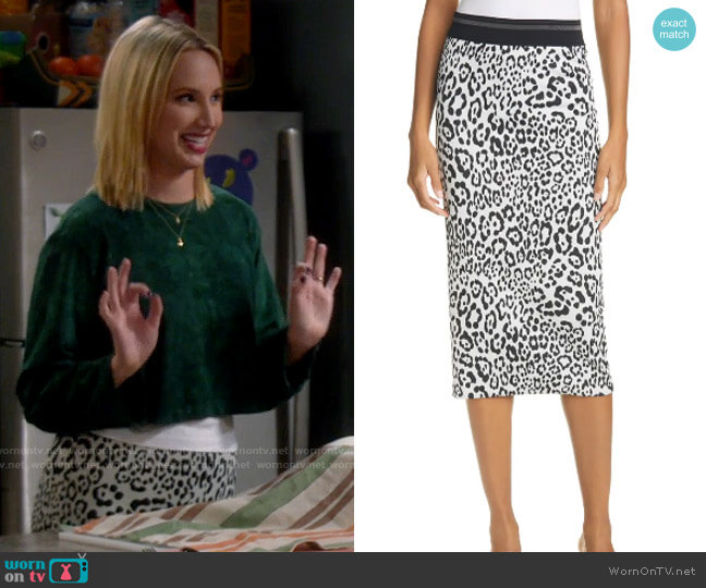 Le Superbe Leopard King Liza Pencil Skirt worn by Mandy Baxter (Molly McCook) on Last Man Standing