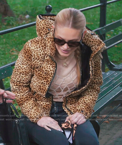 Leah's leopard print puffer jacket on The Real Housewives of New York City