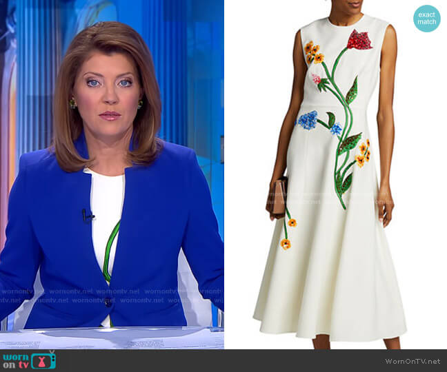 Floral-Embroidered Dress by Lela Rose worn by Norah O'Donnell  on CBS Evening News