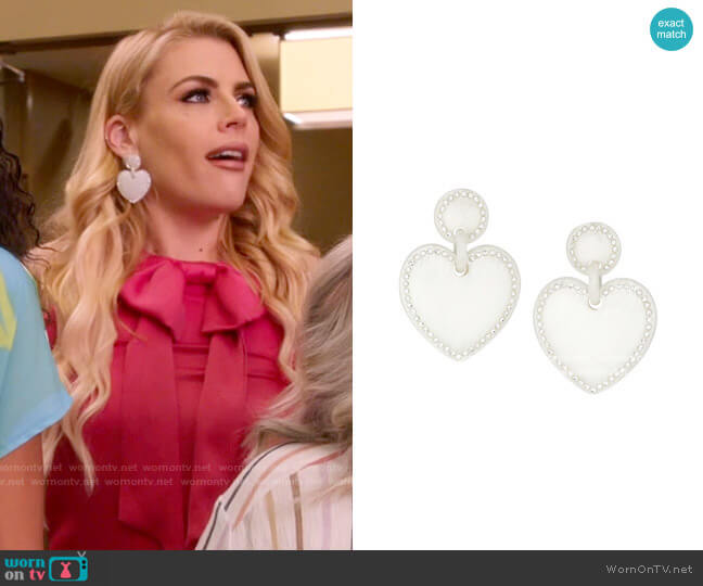 Lele Sadoughi Jeweled-Stitched White Heart Drop Earrings worn by Summer Dutkowsky (Busy Philipps) on Girls5eva