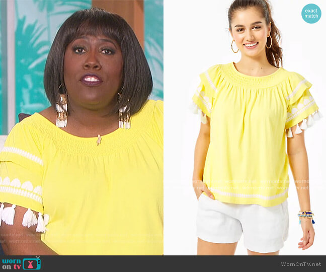 Nailah Embroidered Top by Lilly Pulitzer worn by Sheryl Underwood  on The Talk