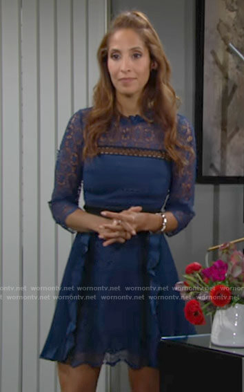 Lily's blue lace dress on The Young and the Restless