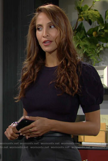 Lily's navy puff sleeve knit top on The Young and the Restless