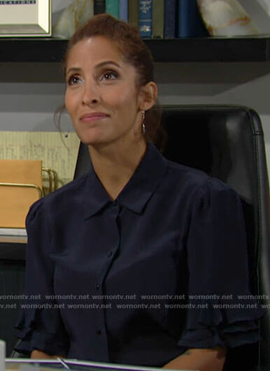 Lily's navy ruffle sleeve shirt on The Young and the Restless