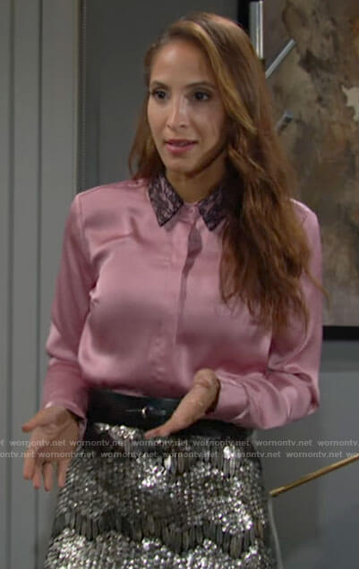 Lily's pink lace collar shirt and sequin skirt on The Young and the Restless