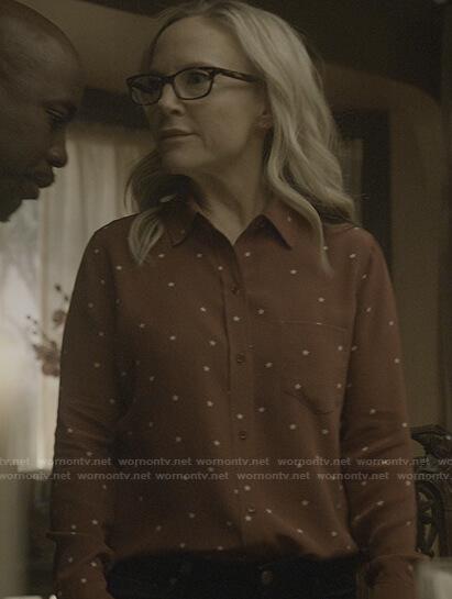 Linda's red star print shirt on Lucifer