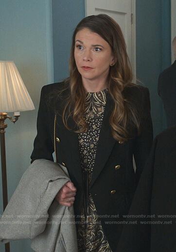 Liza's black paisley print dress on Younger