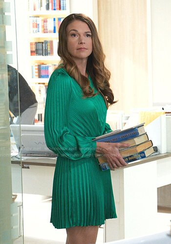Liza's green pleated mini dress on Younger