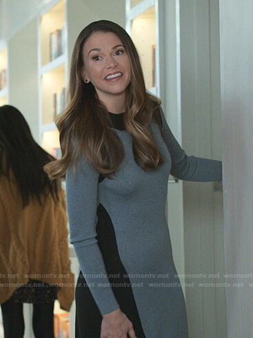 Liza's gray and black ribbed dress on Younger