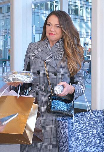 Liza's blue plaid coat and crocodile shoulder bag on Younger