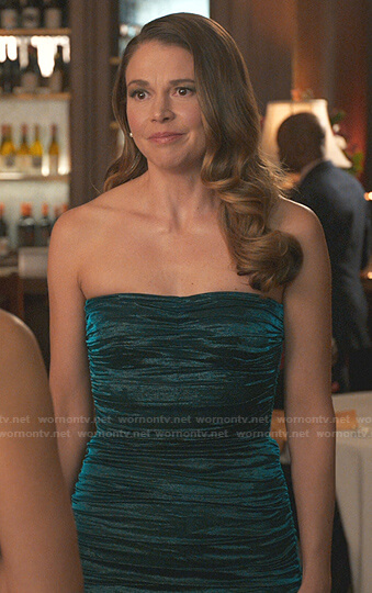 Liza's teal ruched strapless dress on Younger