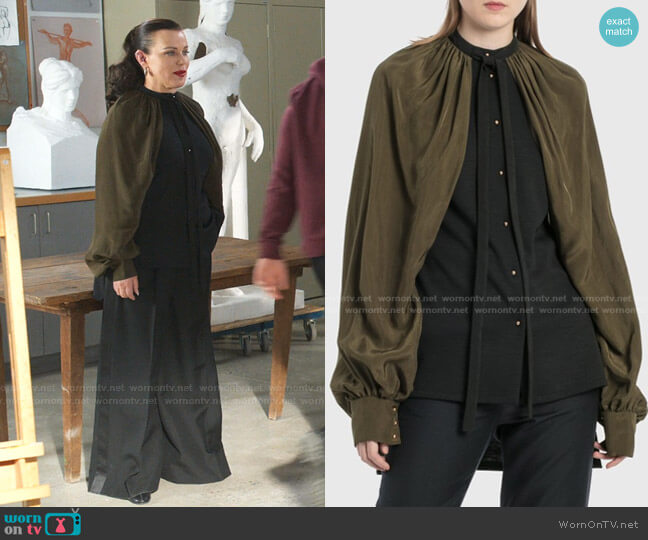 Billowing Cape-Sleeve Top by Loewe worn by Maggie (Debi Mazar) on Younger