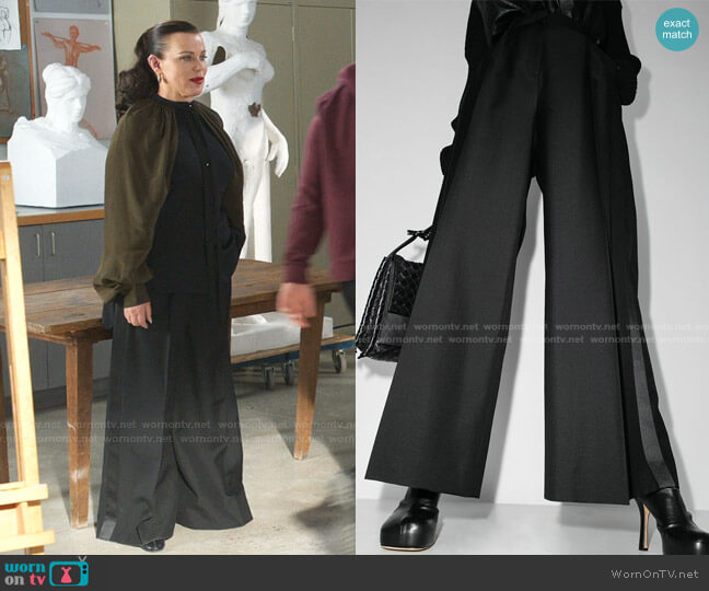 Wide-Leg High-Rise Trousers by Loewe worn by Maggie (Debi Mazar) on Younger