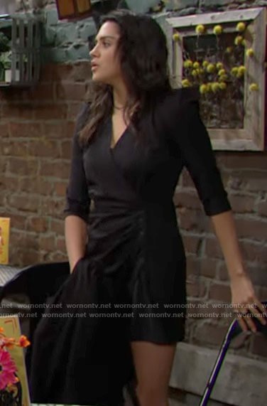 Lola's black pinstripe wrap dress on The Young and the Restless