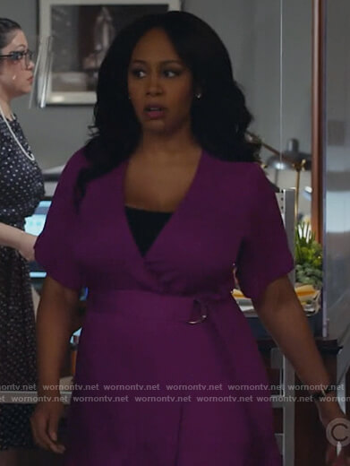 Lola's purple belted wrap dress on All Rise