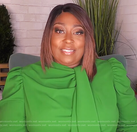 Loni's green tie neck dress on The Real