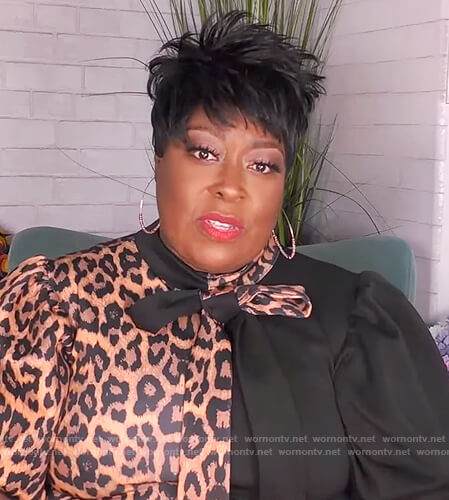 Loni's leopard colorblock tie neck dress on The Real