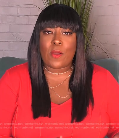 Loni's red ribbed ruched sleeve dress on The Real