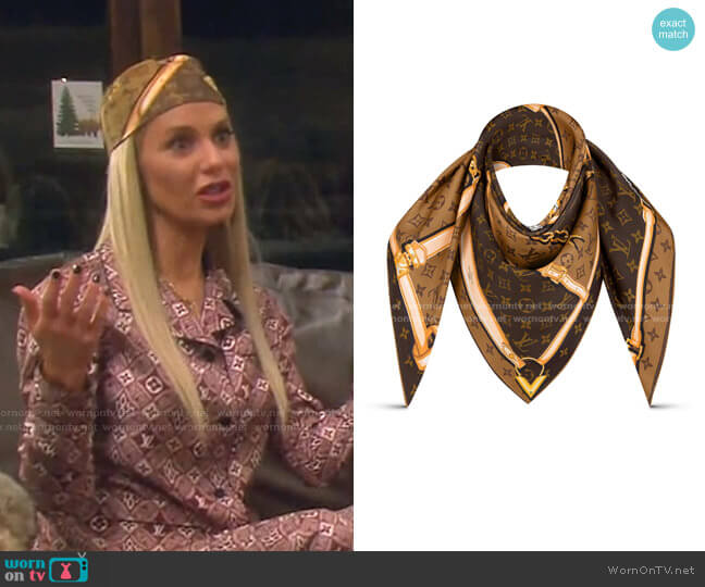 Monogram Silk Scarf by Louis Vuitton worn by Dorit Kemsley  on The Real Housewives of Beverly Hills