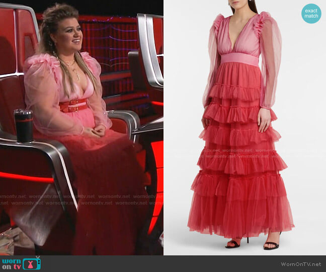 Francoise Tulle Midi Dress by Love Shack Fancy worn by Kelly Clarkson  on The Voice