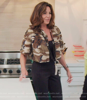 Luann's camo fleece cropped jacket on The Real Housewives of New York City