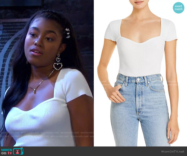Sweetheart Short Sleeve Ribbed Top by Lucy Paris worn by Chanel Dupree (Precious Way) on Days of our Lives