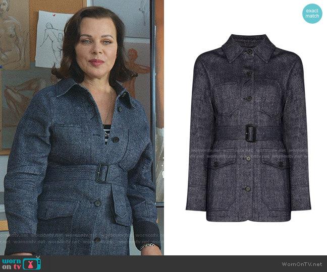 Signature Stitch Belted Jacket by LVIR worn by Maggie (Debi Mazar) on Younger