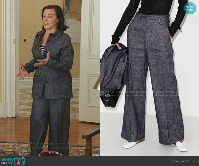 High-Rise Wide-Leg Trousers by LVIR worn by Maggie (Debi Mazar) on Younger