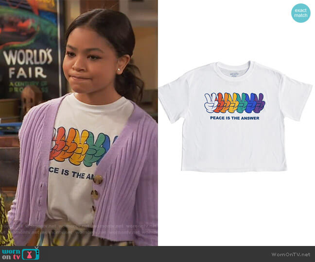 Juniors Peace Is The Answer Graphic T-Shirt by Mad Engine worn by Nia Baxter (Navia Robinson) on Ravens Home
