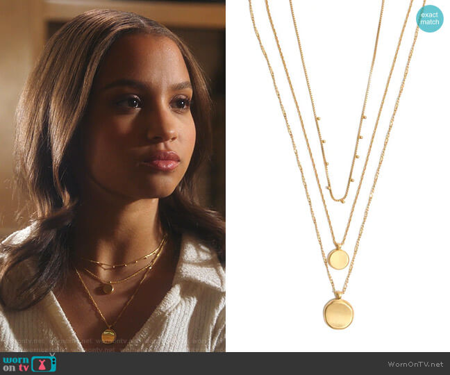 Coin Layered Necklace by Madewell worn by May Grant (Corinne Massiah) on 9-1-1