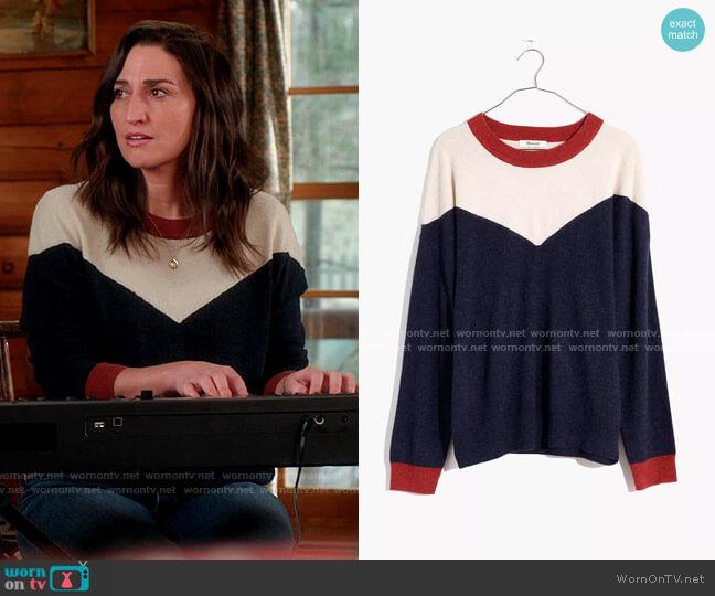 Madewell Colorblock Yoke Pullover Sweater worn by Dawn Solano (Sara Bareilles) on Girls5eva