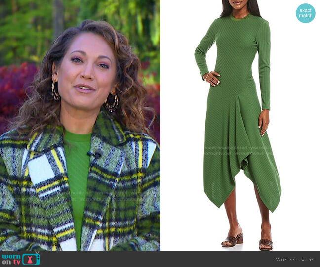 City Rib Knit Asymmetrical Hem Midi Dress by Maggy London worn by Ginger Zee  on Good Morning America