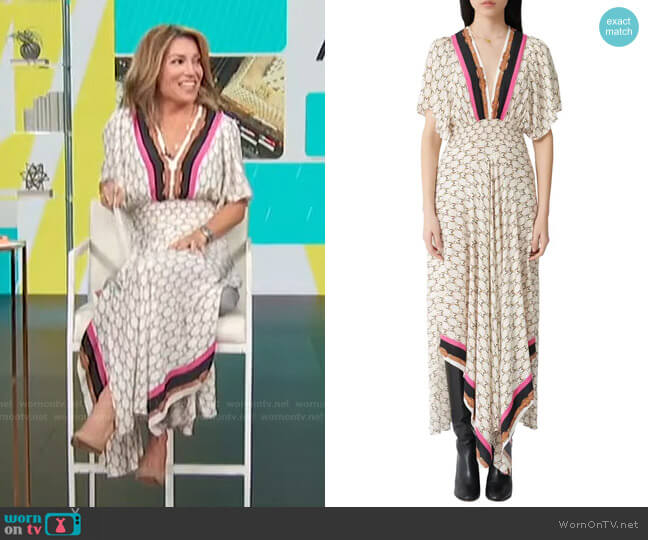 Racheline Print Maxi Dress by Maje worn by Kit Hoover  on Access Hollywood