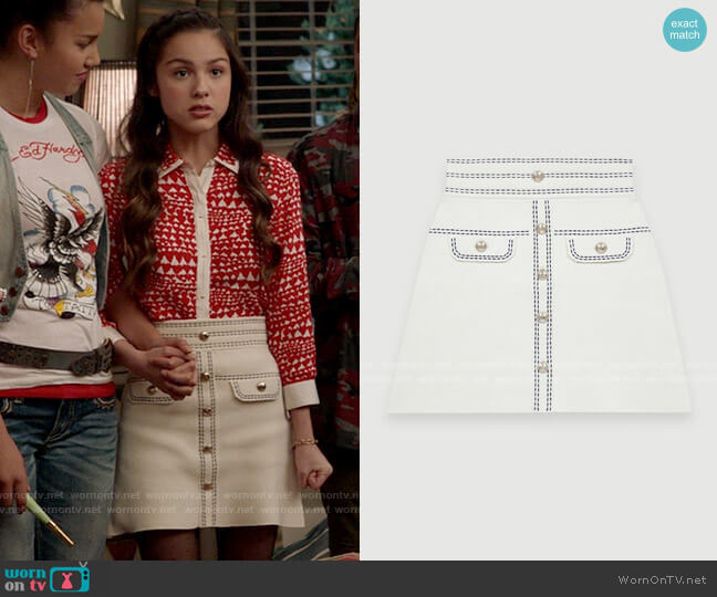 Maje Jisla Skirt worn by Nini (Olivia Rodrigo) on High School Musical The Musical The Series