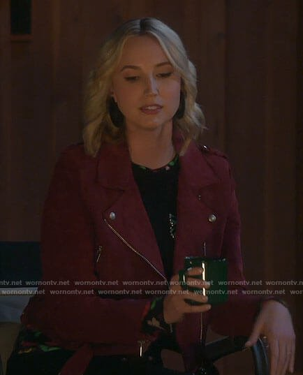 Mandy's butterfly print top and red suede jacket on Last Man Standing