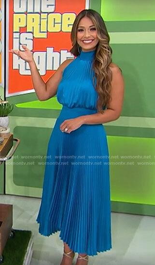 Manuela's blue pleated midi dress on The Price is Right