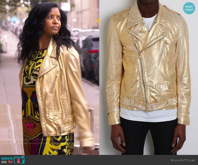 Marc Jacobs S/S 2012 Metallic Gold Biker Jacket worn by Wickie Roy (Renée Elise Goldsberry) on Girls5eva