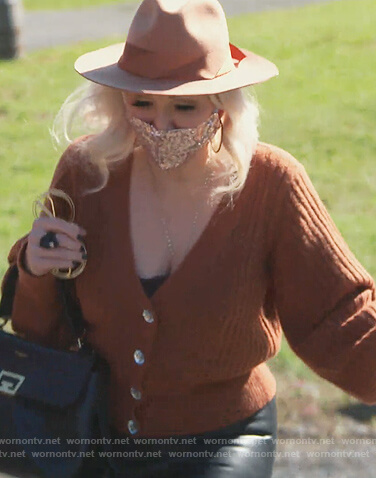 Margaret's brown ribbed cardigan on The Real Housewives of New Jersey