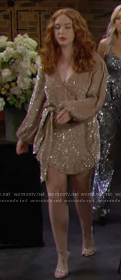 Mariah's sequin long sleeve mini dress on The Young and the Restless