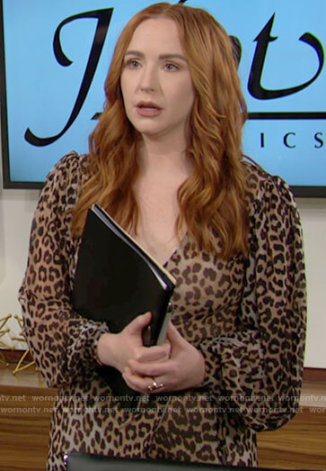 Mariah's leopard print midi wrap dress on The Young and the Restless