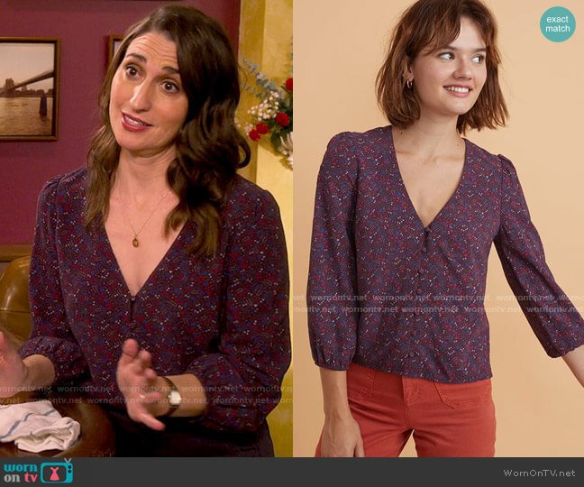 Marine Layer Stacy Button Front Top in Cabernet Ditsy Floral worn by Dawn Solano (Sara Bareilles) on Girls5eva