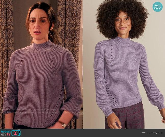 Marine Layer Erin Turtleneck Sweater in Purple Dreamer worn by Dawn Solano (Sara Bareilles) on Girls5eva