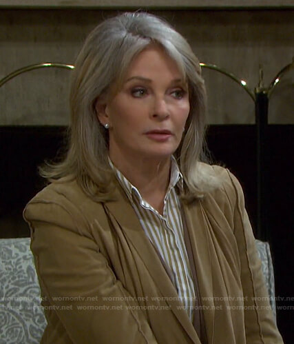 Marlena's yellow striped shirt on Days of our Lives