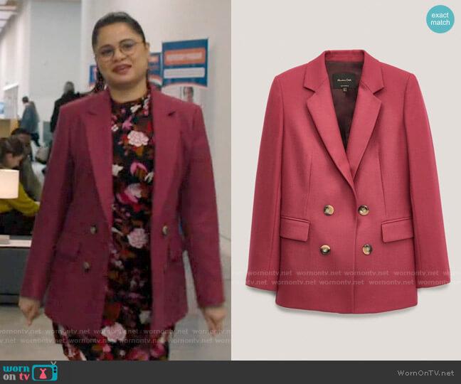 Massimo Dutti 100% wool false double-breasted blazer worn by Mel Vera (Melonie Diaz) on Charmed