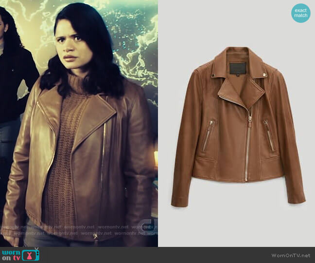 Massimo Dutti Nappa Leather Biker Jacket worn by Mel Vera (Melonie Diaz) on Charmed