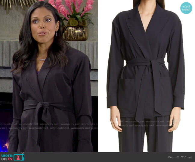 Max Mara Bosh Wrap Jacket worn by Amanda Sinclair (Karla Mosley) on The Young & the Restless