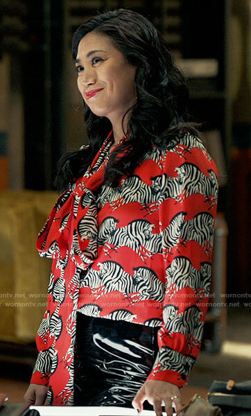 Mel's red zebra print blouse on The Equalizer
