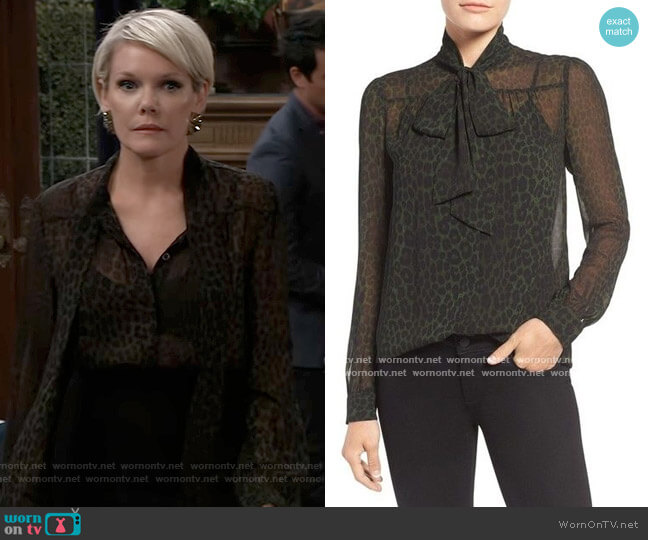 Panther Print Blouse by Michael Kors worn by Ava Jerome (Maura West) on General Hospital