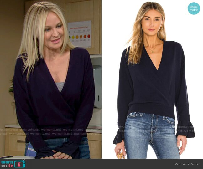 Milly Woven Wrap Front Dolman Sweater worn by Sharon Collins (Sharon Case) on The Young & the Restless